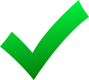 Green tick indicating correct
