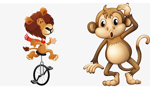 Lion on a bike and a monkey looking confused