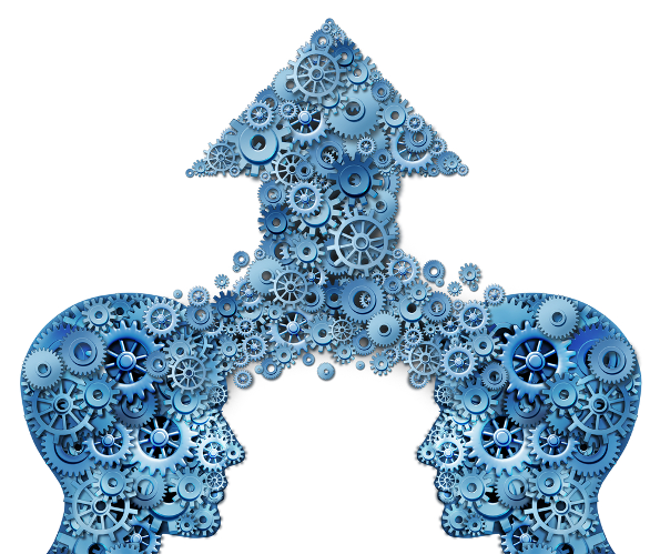 Two head with cogs turning merging as one with an arrow pointing up representing collaboration