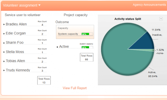 Example of Apricot softwares dashboard feature
