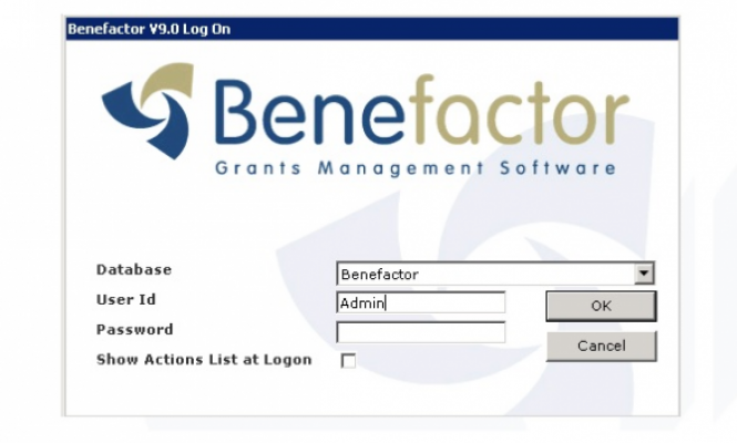 Example of the Benefactor log in screen