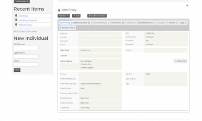 Example of contact records integrated into Charity Webcentre