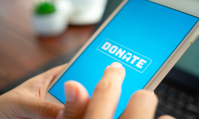 Person making an online donation