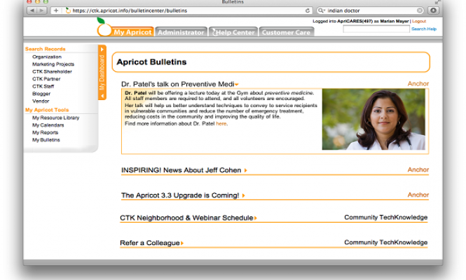 Example of Apricot softwares dashboard bulletin live updates feature