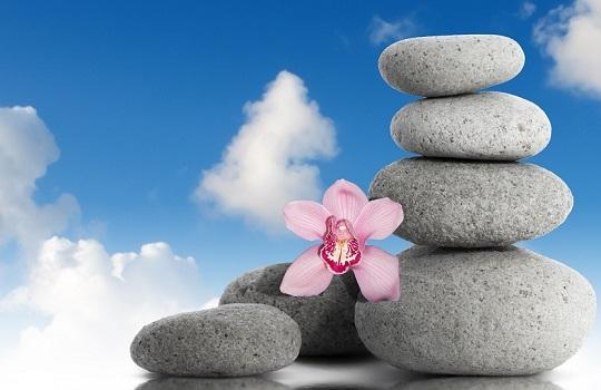 Zen stones with pink orchid flower, with a blue sky and cloud background