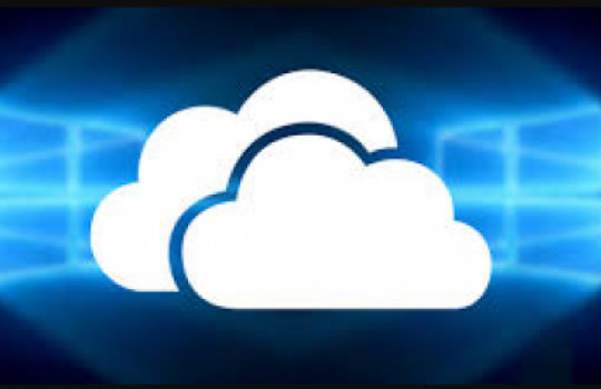 OneDrive symbol cloud on a digital background