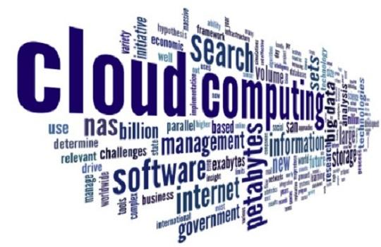 Mash up of words associated with computers and the cloud